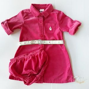 Janie and Jack Penguin Winter Pink Corduroy Dress